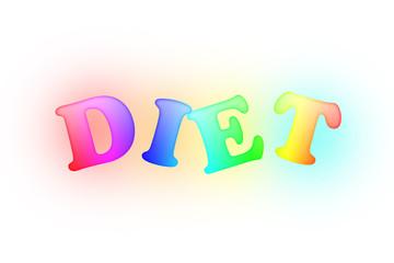흰 바탕에 무지개 색을 입힌 다이어트 글자