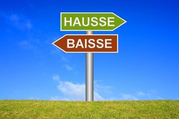 Schild Wegweiser: Hausse / Baisse