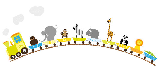 zoo train for kids, hill- vector illustration