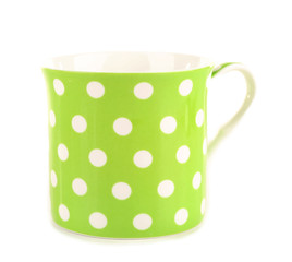 Polka dot mug isolated on white