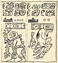 Part of Dresden Codex with Mayan hieroglyphs