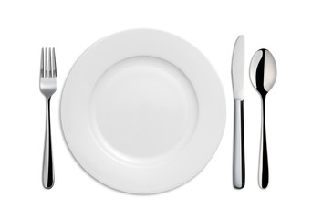 Dinner Plate, Knife,Spoon, and Fork