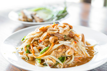 Somtum ,Thai spicy papaya salad ,erve