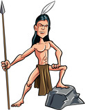 Cartoon American indian brave with a spear poster