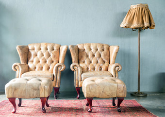 genuine leather classical style sofa