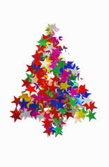 Christmas tree composed of colored stars.