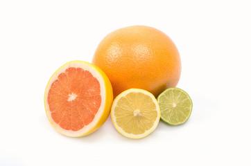image of a fresh whole lime,lemon and orange isolated on white