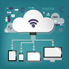 cloud computing - illustration, connection