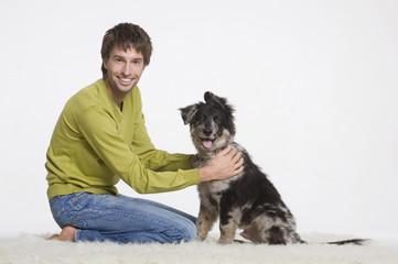 Junger Mann mit Hund,Portrait