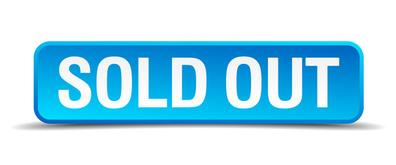 Sold out blue 3d realistic square isolated button