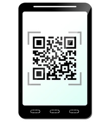 Vector illustration of phone with qr code concept