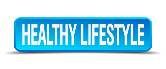 healthy lifestyle blue 3d realistic square isolated button