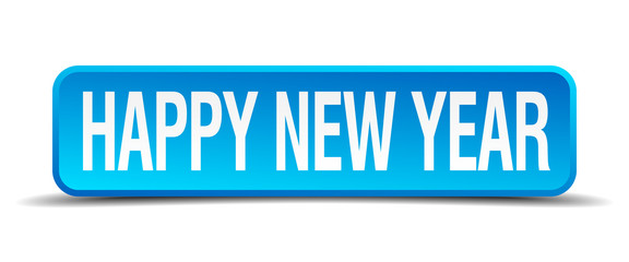 happy new year blue 3d realistic square isolated button