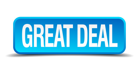 Great deal blue 3d realistic square isolated button