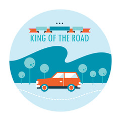 King of the road. Car travel background design template