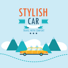Car on the road.Travel background design template