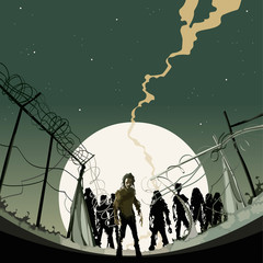 zombies behind the fence at night on background of the moon