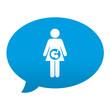 Etiqueta tipo app azul comentario simbolo embarazada