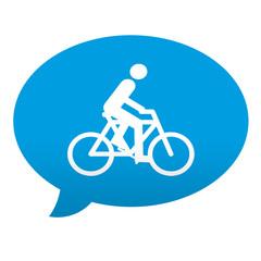 Etiqueta tipo app azul comentario simbolo ciclista