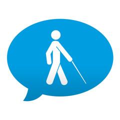 Etiqueta tipo app azul comentario simbolo ciego