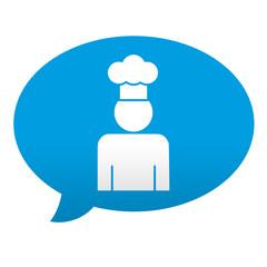 Etiqueta tipo app azul comentario simbolo cocinero