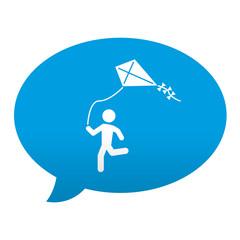 Etiqueta tipo app azul comentario simbolo cometa