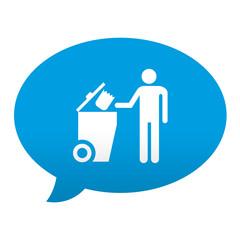 Etiqueta tipo app azul comentario simbolo contenedor basura
