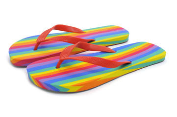 rainbow flip-flops