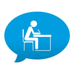 Etiqueta tipo app azul comentario simbolo estudiante