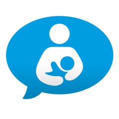 Etiqueta tipo app azul comentario simbolo maternidad
