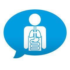 Etiqueta tipo app azul comentario simbolo medicina interna