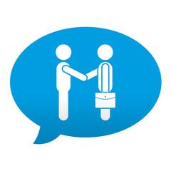 Etiqueta tipo app azul comentario simbolo negocios