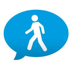 Etiqueta tipo app azul comentario simbolo peaton