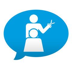 Etiqueta tipo app azul comentario simbolo peluquero