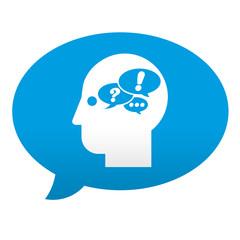 Etiqueta tipo app azul comentario simbolo pensamiento