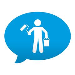 Etiqueta tipo app azul comentario simbolo pintor