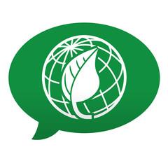 Etiqueta tipo app azul comentario simbolo planeta verde