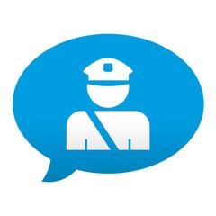 Etiqueta tipo app azul comentario simbolo policia