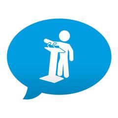 Etiqueta tipo app azul comentario simbolo politico