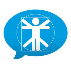 Etiqueta tipo app azul comentario simbolo proporcion