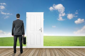 man standing in front of the door
