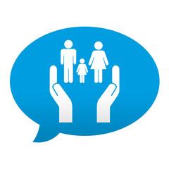 Etiqueta tipo app azul comentario simbolo servicios sociales