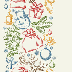 Merry Christmas hand drawn seamless pattern design.