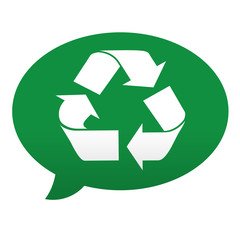 Etiqueta tipo app azul comentario simbolo reciclaje