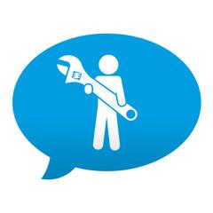 Etiqueta tipo app azul comentario simbolo reparaciones