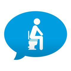 Etiqueta tipo app azul comentario simbolo WC