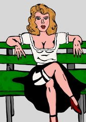 Pin up sitting on chair