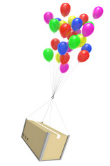 Airmail package delivery by balloon courier service shipping