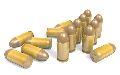 Pistol .45 caliber bullets rendered in 3D