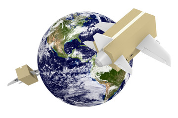 Worldwide shipping & airmail, parts of image furnished by NASA